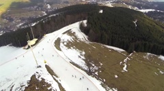 Aerial shot of downhill skiing in the ski resort of Bukovel Stock Footage