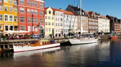 Scenic Nyhavn District Daytime  - Copenhagen Denmark - stock footage