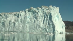 Handheld shot of a floating glacier tounge at a glacier in Greenland Stock Footage