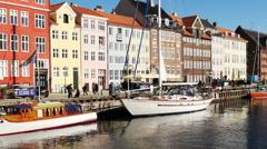 Zoom Out - Scenic Nyhavn District Daytime  - Copenhagen Denmark - stock footage