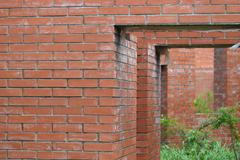 Abandoned building of red brick Stock Photos