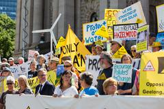 Anti CSG Activists rally outside Parliament House in Melbourne - stock photo