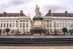 The Martyr's square in Brussels, Pro Patria memorial monument. - stock photo