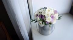 Beautiful white wedding bouquet - stock footage