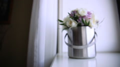 Beautiful white wedding bouquet Stock Footage