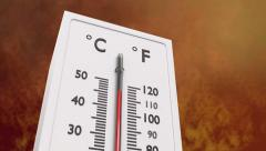 Close up at increasing temperature on thermometer. Stock Footage