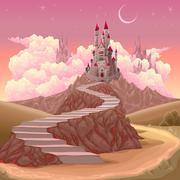 Fantasy landscape with castle - stock illustration