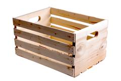 Single wooden fruit crate Stock Photos