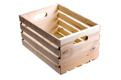 Isolated empty wooden fruit crate Stock Photos