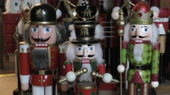 Toy nutcracker soldier drummer christmas decoration Stock Footage