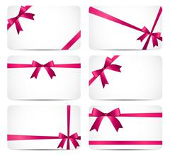 Gift Card with Pink Ribbon and Bow. Vector illustration - stock illustration