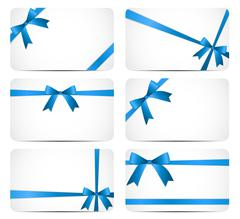 Gift Card with Blue Ribbon and Bow. Vector illustration Stock Illustration