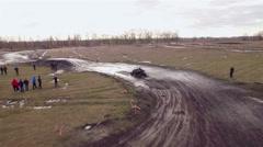 Aerial view of utv race. Mud track. - stock footage