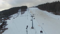 Ski Resort , Skiers, chairlift, aerial panorama Stock Footage