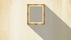 Old style picture wood frame with moving shadow background,  - stock footage