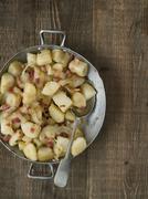 rustic german pan fried potato bratkartoffeln - stock photo