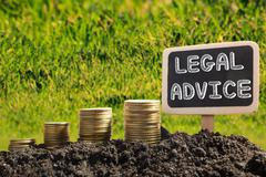Legal Advice - Financial opportunity concept. Golden coins in soil Chalkboard on Stock Photos