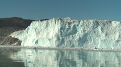 Moving shot of the floating glacier tounge while sailing through ice Stock Footage