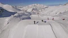 Snowpark L2A Jump Aerial slowmotion Stock Footage