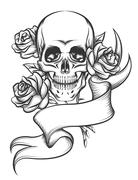 Skull and Roses with Ribbon - stock illustration