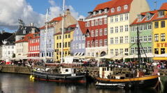 Time Lapse Zoom of Scenic Nyhavn District Day  - Copenhagen Denmark - stock footage