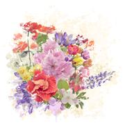 Colorful Flowers Watercolor Stock Photos