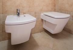 Stock Photo of Toilet and bidet in modern design