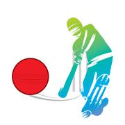 cricket player hit big shoot, out of the boundary design vector - stock illustration