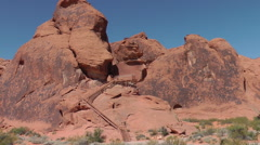 Blue sky above red wavy rocks of Valley of Fire State park, NE - stock footage