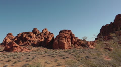 View on bizarre red wavy mountain of Valley of Fire State park, NE - stock footage
