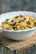 White plate with mushroom risotto. - stock photo