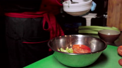Chef cooking at kitchen Stock Footage