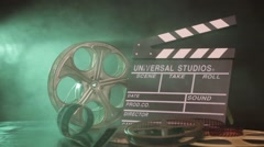 Retro film production accessories still life - stock footage