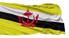 Isolated Waving National Flag of Brunei - stock footage