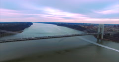 George Washington Bridge Aerial (2016), Zoom out, Vehicles, Boat Trail Stock Footage