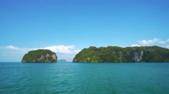 Yacht Runs Along  Islands on the Andaman Sea. Stock Footage