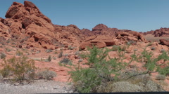 View on bizarre red wavy rocks of Valley of Fire State park, NE - stock footage