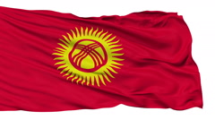 Isolated Waving National Flag of Kyrgyzstan - stock footage
