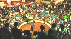 Hundreds Of Unidentified Spectators At Public Cockfight Event In South America Stock Footage
