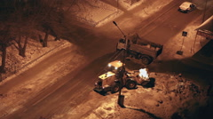 Snow removal work at night - stock footage
