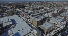Weehawken Snow 2016 Aerial View With Buildings (Different Angle) Stock Footage