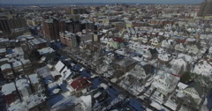 Weehawken Snow 2016 Flyover Homes Stock Footage