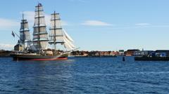 Schooner Ship Sails through a canal in Copenhagen Denmark Stock Footage