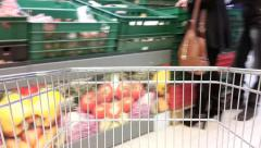 Supermarket shopping timelapse with shoppers - stock footage