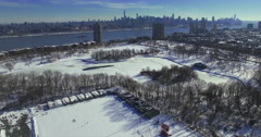 Weehawken Snow 2016 Over Park Stock Footage