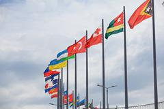Flags flutter over Sochi Autodrom. Russian Grand Prix - stock photo