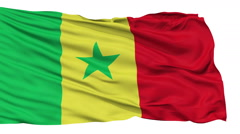 Isolated Waving National Flag of Senegal - stock footage