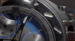 Extreme Close Up of the seconds hand on a men's chronograph watch. Stock Footage