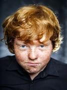 Fat freckled boy portrait - stock photo