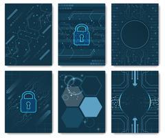 Set of vector abstract dark blue futuristic technology innovation flyer, broc - stock illustration